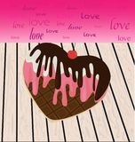 Εύγευστος και ακαταμάχητος, ένα καρδιά-διαμορφωμένο μπισκότο παγωτού Στοκ Φωτογραφίες