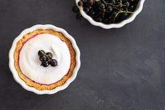 Εύγευστος ξινός που διακοσμείται με merengue και μούρα, που εξυπηρετούνται στην άσπρη αγροτική σύνθεση, με το διάστημα αντιγράφων στοκ εικόνα με δικαίωμα ελεύθερης χρήσης