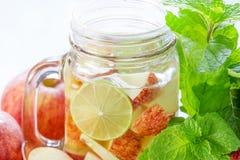 Εύγευστο αναζωογονώντας ποτό κουπών των φρούτων μήλων με τη μέντα Στοκ Εικόνα