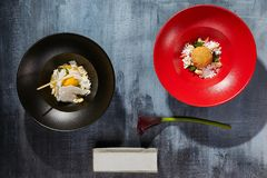 Εύγευστο γλυκό μάγκο με το τηγανισμένο παγωτό Τοπ όψη Στοκ Φωτογραφίες
