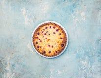 Εύγευστο επιδόρπιο σε ένα πιάτο, γλυκό νόστιμο cheesecake με τα φρέσκα μούρα Τοπ όψη Στοκ Φωτογραφία