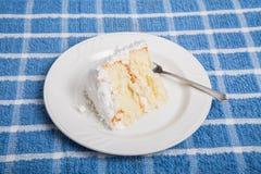 Εύγευστο κέικ καρύδων στην μπλε πετσέτα Στοκ φωτογραφία με δικαίωμα ελεύθερης χρήσης