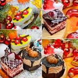 Εύγευστο κέικ Χριστουγέννων στο υπόβαθρο Χριστουγέννων, σφαίρα Χριστουγέννων στοκ φωτογραφίες