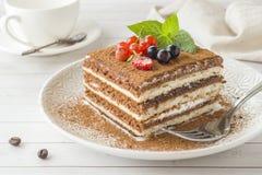 Εύγευστο κέικ Tiramisu με τα φρέσκα μούρα και μέντα σε ένα πιάτο ο στοκ φωτογραφία με δικαίωμα ελεύθερης χρήσης
