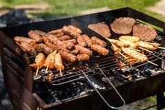 Εύγευστο κρέας στη σχάρα σχαρών με το πικ-νίκ άνθρακα υπαίθρια Στοκ εικόνα με δικαίωμα ελεύθερης χρήσης