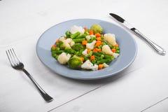 Εύγευστο μίγμα των λαχανικών στο πιάτο επάνω από την όψη στοκ φωτογραφία με δικαίωμα ελεύθερης χρήσης