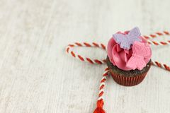 Μίνι cupcake σοκολάτας και σμέουρων Στοκ εικόνες με δικαίωμα ελεύθερης χρήσης