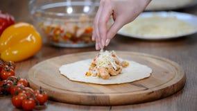 Εύγευστο μεξικάνικο enchilada Μεξικάνικα τρόφιμα Μαγειρικά εργαστήρια απόθεμα βίντεο