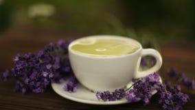 εύγευστο πράσινο τσάι στο όμορφο κύπελλο γυαλιού στον πίνακα απόθεμα βίντεο