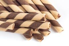 Εύγευστο ραβδί ρόλων γκοφρετών σοκολάτας Στοκ Εικόνα