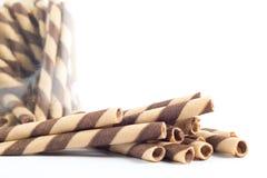 Εύγευστο ραβδί ρόλων γκοφρετών σοκολάτας Στοκ εικόνες με δικαίωμα ελεύθερης χρήσης
