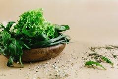 Εύγευστο φρέσκο σπανάκι arugula σαλάτας στο ξύλινο κύπελλο στην τέχνη β Στοκ φωτογραφία με δικαίωμα ελεύθερης χρήσης