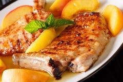 Εύγευστο ψημένο στη σχάρα χοιρινό κρέας μπριζολών με τα φρέσκα ροδάκινα και το σκόρδο μελιού Στοκ φωτογραφίες με δικαίωμα ελεύθερης χρήσης