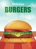 Εύγευστο Burger - διανυσματική απεικόνιση Στοκ Εικόνες