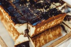 Εύγευστο cheesecake με το κάλυμμα σοκολάτας στοκ φωτογραφίες με δικαίωμα ελεύθερης χρήσης