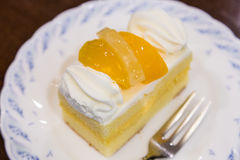 Εύγευστο cheesecake με το ροδάκινο Στοκ φωτογραφία με δικαίωμα ελεύθερης χρήσης