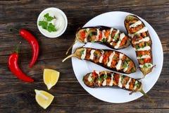 Εύγευστο Quinoa ξεφυτρώνει γεμισμένη ντομάτα μελιτζάνα Στοκ Φωτογραφίες