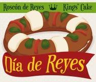 Εύγευστο ` Roscon de Reyes ` με την κορδέλλα χαιρετισμού για τις διακοπές Epiphany, διανυσματική απεικόνιση Στοκ Εικόνες