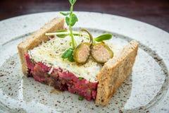Εύγευστο tartare με το ψημένο ψωμί και σαλάτα σε ένα πιάτο Υγιές γεύμα μεσημεριανού γεύματος φιαγμένο από ακατέργαστο κρέας Στοκ Εικόνα