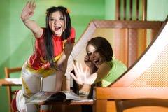εύθυμα κορίτσια δύο Στοκ εικόνα με δικαίωμα ελεύθερης χρήσης