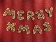 Εύθυμα μπισκότα μελοψωμάτων Χριστουγέννων στοκ εικόνες