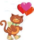 Εύθυμα φέρνοντας μπαλόνια γατών με μορφή μιας καρδιάς διανυσματική απεικόνιση