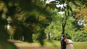 Εύθυμα newlyweds που αγκαλιάζουν, στο πράσινο θερινό πάρκο Ο όμορφος νεόνυμφος αγκαλιάζει tenderly την καλή νύφη του φιλμ μικρού μήκους