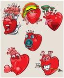 Εύθυμες και διαφορετικές καρδιές στο απομονωμένο υπόβαθρο Στοκ φωτογραφία με δικαίωμα ελεύθερης χρήσης