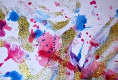 Εύθυμες μορφές κρητιδογραφιών χρωμάτων άσπρες χρυσές ρόδινες, αφηρημένα χρώματα κρητιδογραφιών Στοκ Εικόνες