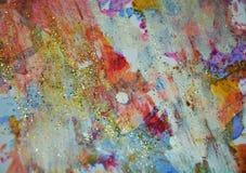Εύθυμες μορφές κρητιδογραφιών χρωμάτων χρυσές ρόδινες, αφηρημένα χρώματα κρητιδογραφιών Στοκ Φωτογραφίες