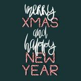 Εύθυμες Χριστούγεννα και καλή χρονιά - δημιουργική αφίσα Στοκ Φωτογραφίες
