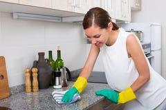 Εύθυμη γυναίκα που καθαρίζει στο σπίτι Στοκ Εικόνες