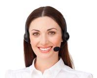 Εύθυμη επιχειρηματίας με το ακουστικό Στοκ Εικόνα
