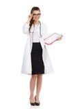 Εύθυμη θηλυκή περιοχή αποκομμάτων εκμετάλλευσης γιατρών Στοκ Φωτογραφία