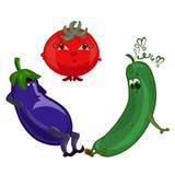 Εύθυμη μελιτζάνα, λυπημένες αγγούρι και γυναικεία ντομάτα ελεύθερη απεικόνιση δικαιώματος