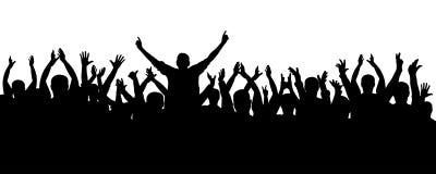 Εύθυμη σκιαγραφία ανθρώπων πλήθους επιδοκιμασίας Συναυλία, κόμμα Αστείος ενθαρρυντικός, αθλητικοί ανεμιστήρες, απομονωμένο διάνυσ απεικόνιση αποθεμάτων