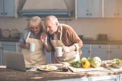 Εύθυμοι ανώτεροι συνταξιούχοι που απολαμβάνουν τη σε απευθείας σύνδεση επικοινωνία στην κουζίνα στοκ φωτογραφίες με δικαίωμα ελεύθερης χρήσης