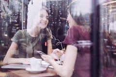 Εύθυμοι δύο σπουδαστές που συμβουλεύουν ο ένας στον άλλο στοκ φωτογραφία με δικαίωμα ελεύθερης χρήσης