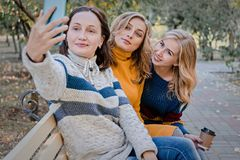 Εύθυμοι ελκυστικοί τρεις νέοι καλύτεροι φίλοι γυναικών που έχουν τη διασκέδαση και κάνουν selfie μαζί έξω στοκ φωτογραφία με δικαίωμα ελεύθερης χρήσης