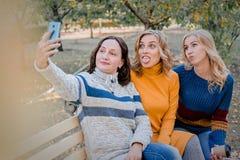 Εύθυμοι ελκυστικοί τρεις νέοι καλύτεροι φίλοι γυναικών που έχουν τη διασκέδαση και κάνουν selfie μαζί έξω στοκ εικόνες