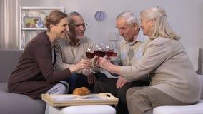 Εύθυμοι ηλικιωμένοι φίλοι που πίνουν το κρασί και που μιλούν, ελεύθερος χρόνος, χαλάρωση απόθεμα βίντεο