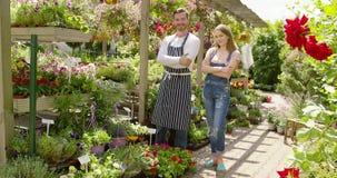 Εύθυμοι συνάδελφοι στον κήπο απόθεμα βίντεο