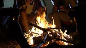 Εύθυμοι φίλοι που χαλαρώνουν κοντά στην πυρά προσκόπων και την κατανάλωση εμφιαλωμένη μπύρα το βράδυ απόθεμα βίντεο