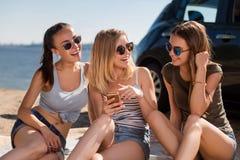 Εύθυμοι φίλοι που στηρίζονται στην παραλία στοκ εικόνα με δικαίωμα ελεύθερης χρήσης
