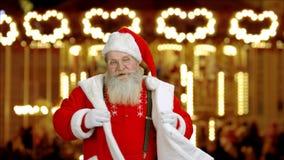 Εύθυμος Άγιος Βασίλης, έκθεση Χριστουγέννων απόθεμα βίντεο