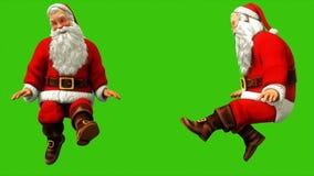 Εύθυμος Άγιος Βασίλης κυματίζει τα πόδια του στην πράσινη οθόνη κατά τη διάρκεια των Χριστουγέννων 4k Άνευ ραφής ζωτικότητα βρόχω ελεύθερη απεικόνιση δικαιώματος