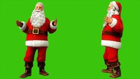 Εύθυμος Άγιος Βασίλης λέει κάτι στην πράσινη οθόνη κατά τη διάρκεια των Χριστουγέννων 4k Άνευ ραφής ζωτικότητα βρόχων διανυσματική απεικόνιση