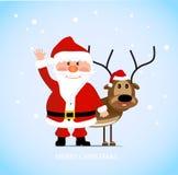 Εύθυμος Άγιος Βασίλης με ένα ελάφι διανυσματική απεικόνιση