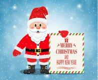 Εύθυμος Άγιος Βασίλης που στέκεται με το έμβλημα Χριστουγέννων απεικόνιση αποθεμάτων