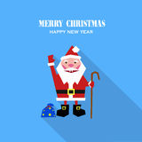 Εύθυμος Άγιος Βασίλης με τα δώρα απεικόνιση αποθεμάτων
